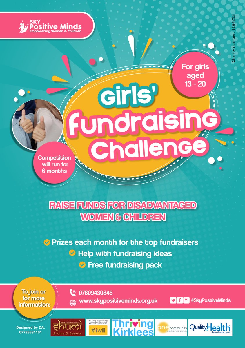 Great opportunity for girls to get involved in fundraising and pick up crucial life skills. We will help all the way with marketing and fundraising ideas. @oc_kirklees @iwill_campaign @thrivinkirklees #iwill