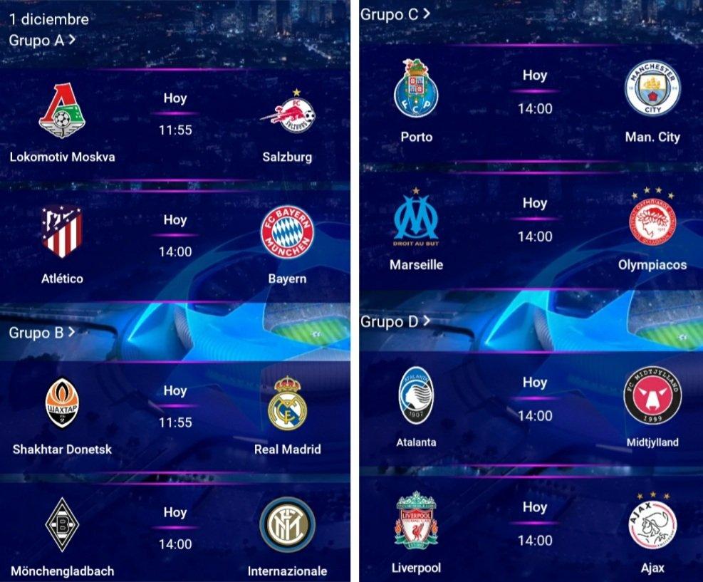 #UCL  Programación de partidos para hoy en la UEFA Champions League   @sonora969 @SN_deportes