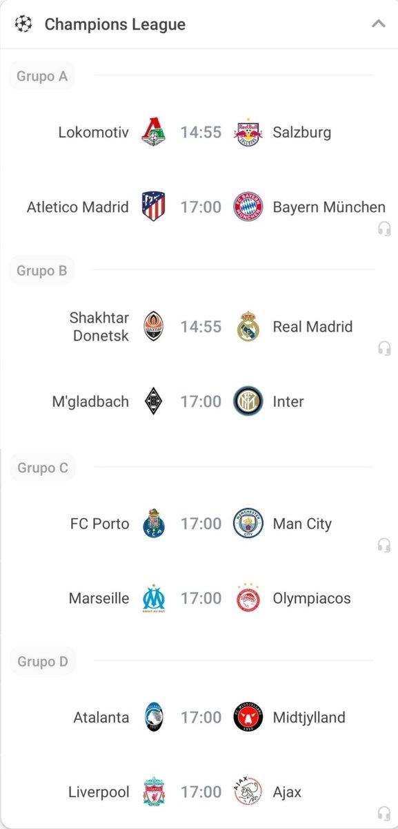 Champions League 🏆🌍⚽  Partidos a jugarse el día de hoy por la 5ª fecha en los Grupos A, B, C y D.  #Fecha5 #FaseGrupos #ChampionsLeague