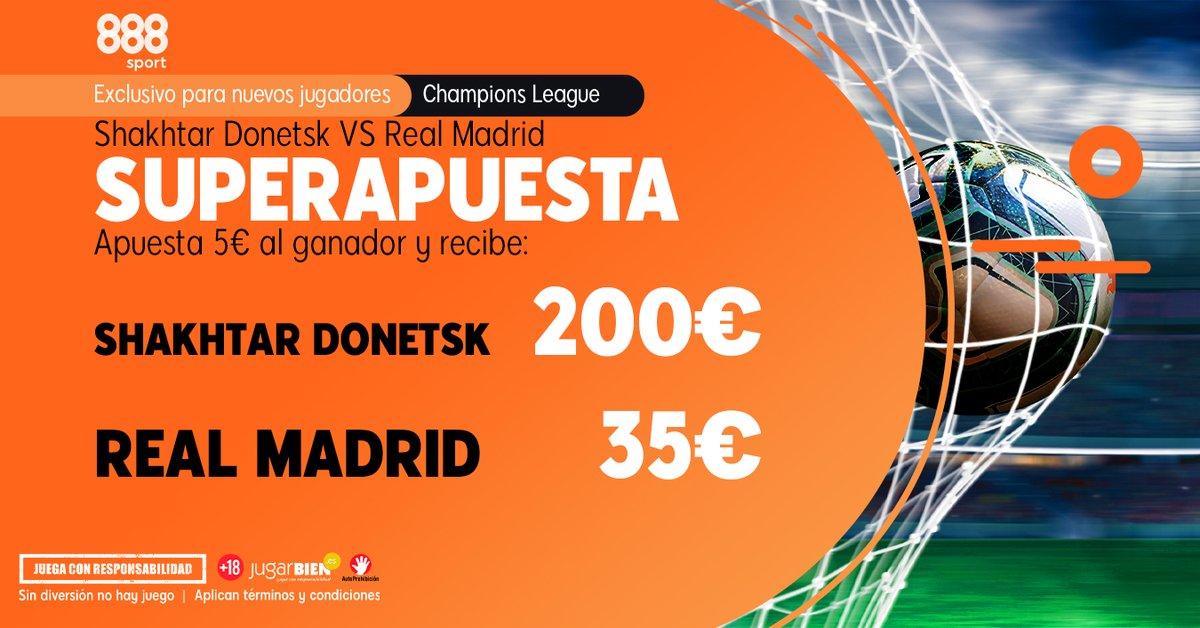 Hoy 🗓 es día de #Champions.  Aprovecha esos 5 € y conviértelos 👇  ✨ Shakhtar Donetsk 👉 200 € ✨ Real Madrid           👉 35    €  🔞    #ChampionsLeague #futbol
