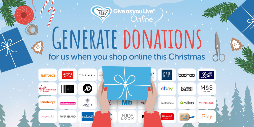 Support us this Christmas by generating donations when you shop online for gifts and more via @GiveasyouLive Online.🎄  💸 It's free 📱 There's a handy app 🛍️ There are over 4,000 stores!  #GivingTuesday  >