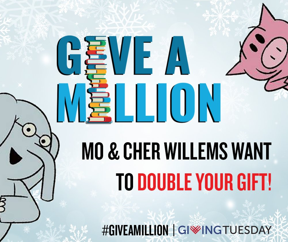 $1 equals 2 books to kids in need this #GivingTuesday!   Thanks to the generosity of the Mo and Cher Willems Foundation (@The_pigeon), every dollar given to our #GiveaMillion campaign today will be matched up to $40K. Give now ➡️ https://t.co/4QkdnEZMxG. https://t.co/nXPHxv6xKa