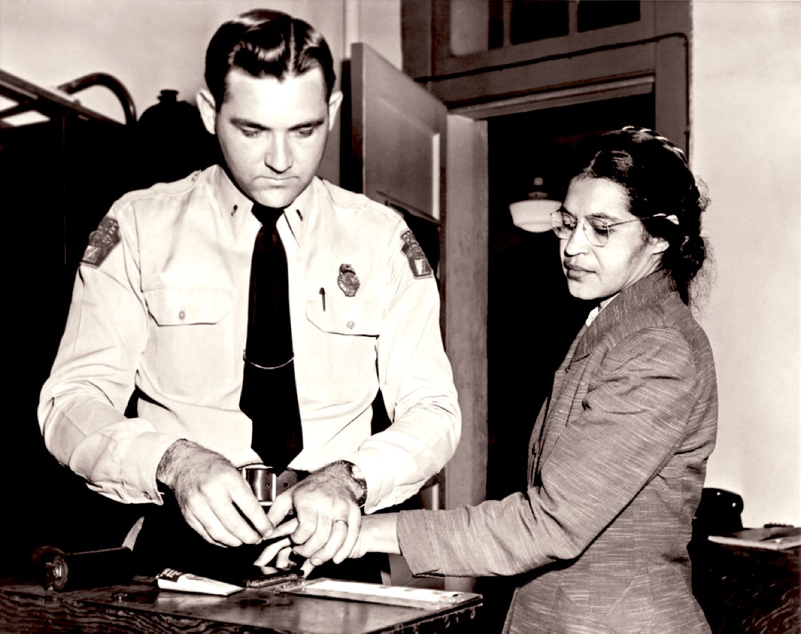 """""""No, the only tired I was, was tired of giving in."""" #RosaParks 65 years ago..."""