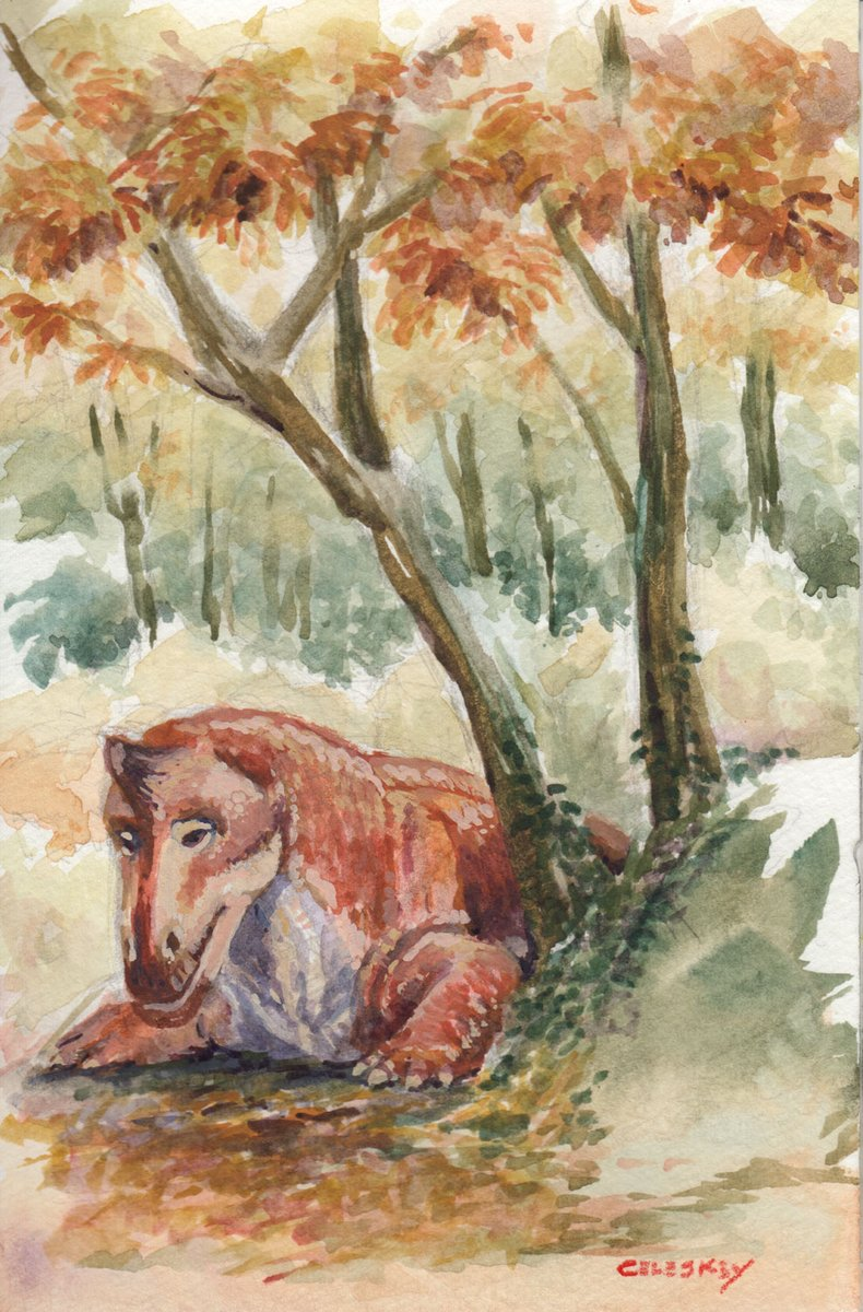 Dinocephalian #DrawDinovember no. 23  November may be over, but what's a few days after 260 million years?   Today's entry: The 'Permian unicorn' Struthiocephalus whaitsi takes a rest under the changing leaves in a copse of Glossopteris trees.