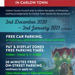 Image for the Tweet beginning: Christmas Parking arrangements for Carlow