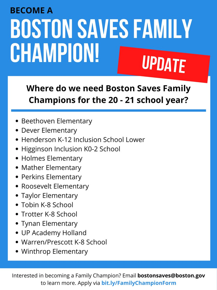UPDATE: Check out the Boston Public Schools that still need Family Champions for Boston Saves! If you're interested in becoming a Family Champion, email bostonsaves@boston.gov and apply at https://t.co/PhKyECl3CH. #boston #bostonsaves https://t.co/w6kTMhRwQh