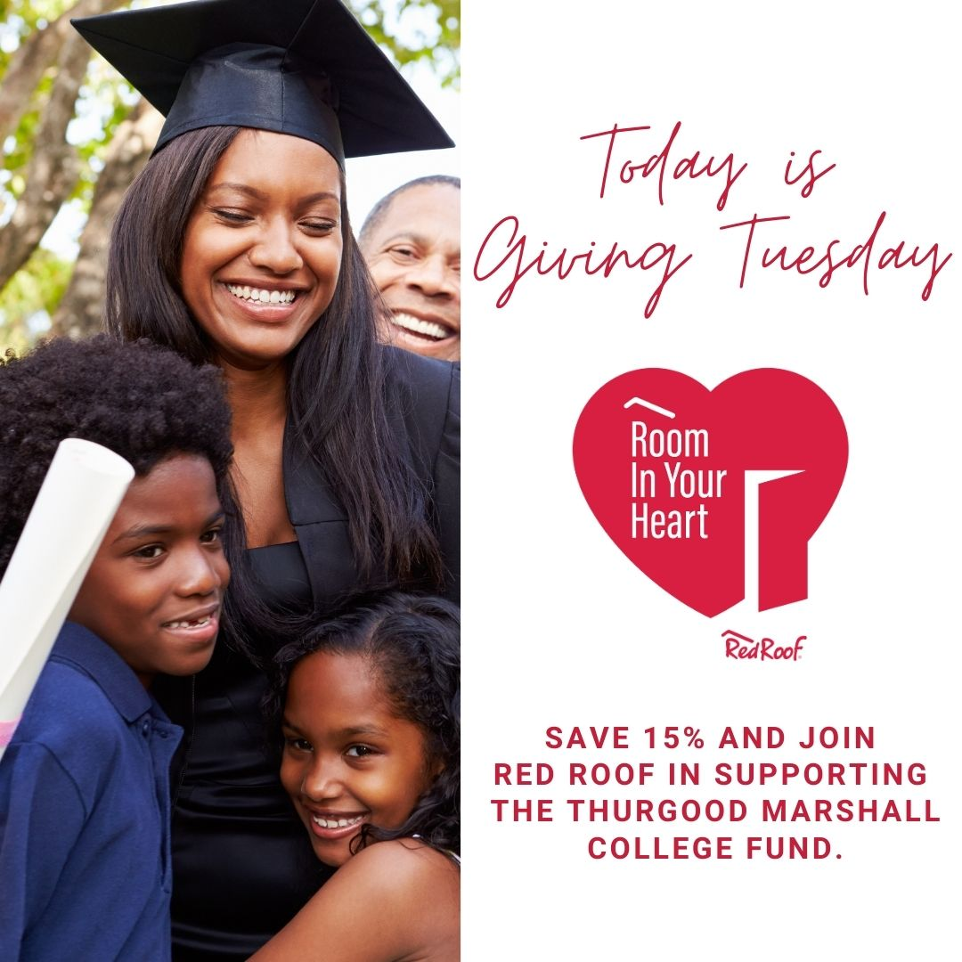 This #GivingTuesday, save 15% on your stay and join Red Roof's Room in Your Heart Purpose Program in supporting @flyinghorsefarm, @FreedomAlliance, and @tmcf_hbcu.   Book now to show your support:
