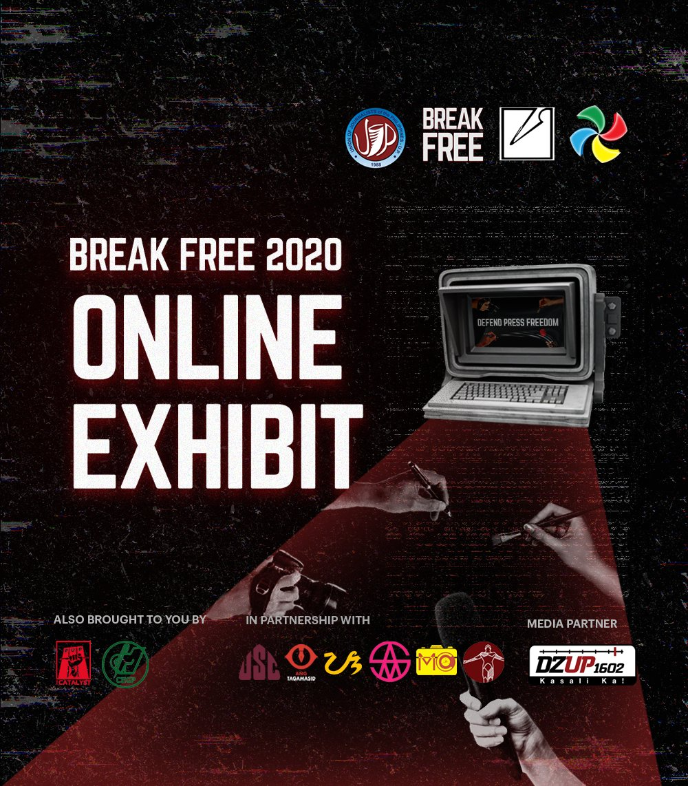To cap off our month-long commemoration of the Ampatuan massacre and our fight against impunity, UJP-UP together with @upjournclub and @updcmcsc present the Break Free 2020 Art Exhibit — a collection of artistic interpretations of what it means to #DefendPressFreedom today. https://t.co/Y0L5JujA5l