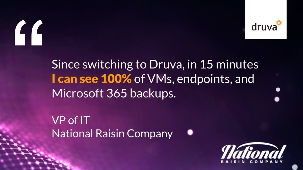 #MondayMotivation! 🙌  @NationalRaisin now protects virtual machines, endpoints, and Microsoft 365 and spends 75% less time spent managing #backups. Read more about their cloud journey here:   #O365 #DataProtection