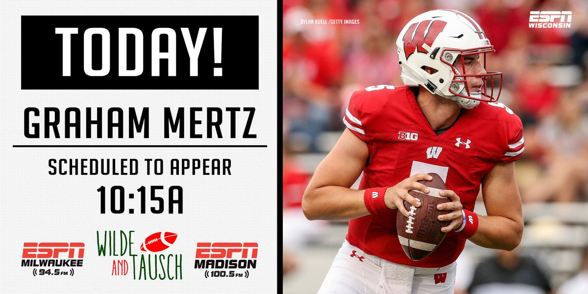The starting QB of the #Badgers is #ScheduledToAppear!  @GrahamMertz5 joins us THIS MORNING at 10:15am.  📻100.5 @ESPNMadison & 94.5 @ESPNMilwaukee  📱@espn App 💻