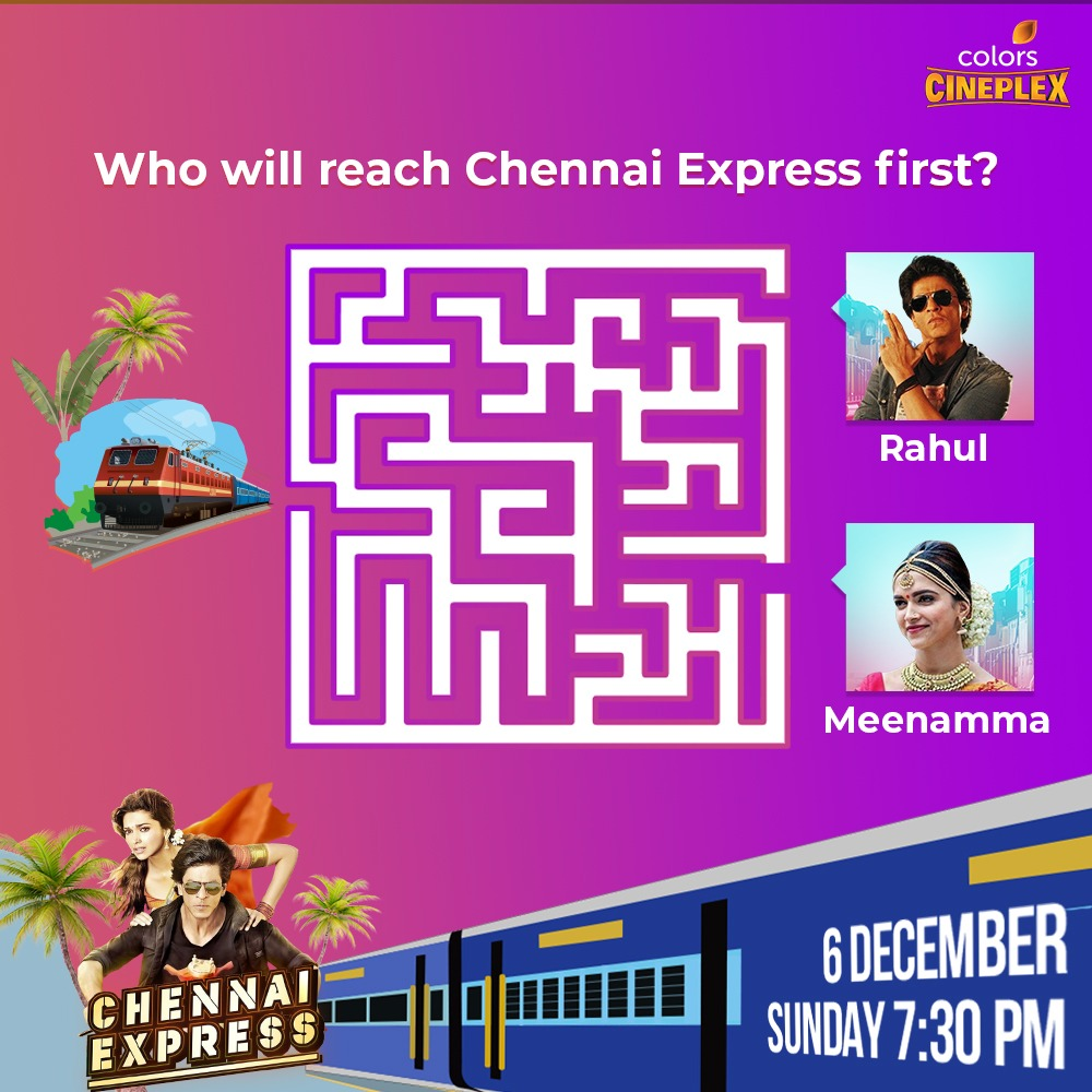 Drop a 💚 for @iamsrk and 💛 for @deepikapadukone in the comments. Watch #ChennaiExpress on 6 December ko raat 7:30 baje, sirf #ColorsCineplex par.  #FilmeinMUSTHain #7YearsOfChennaiExpress  #Bollywood #December2020 #SRK #DeepikaPadukone #RohitShetty #WednesdayMotivation