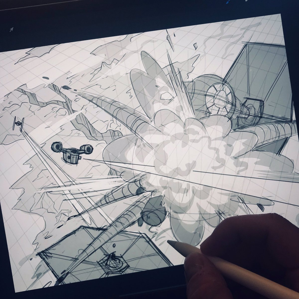 Roughing this one out in Pro Create 😁 Loved this scene from The Mandalorian episode 4 in season 2, and I'm aiming to capture the same level of detail in this piece. Stay tuned for more!  #themandalorian #dogfight #razorcrest #tiefighters #thisistheway #ipadpro #procreate #sketch https://t.co/BfGUc4s6Mg