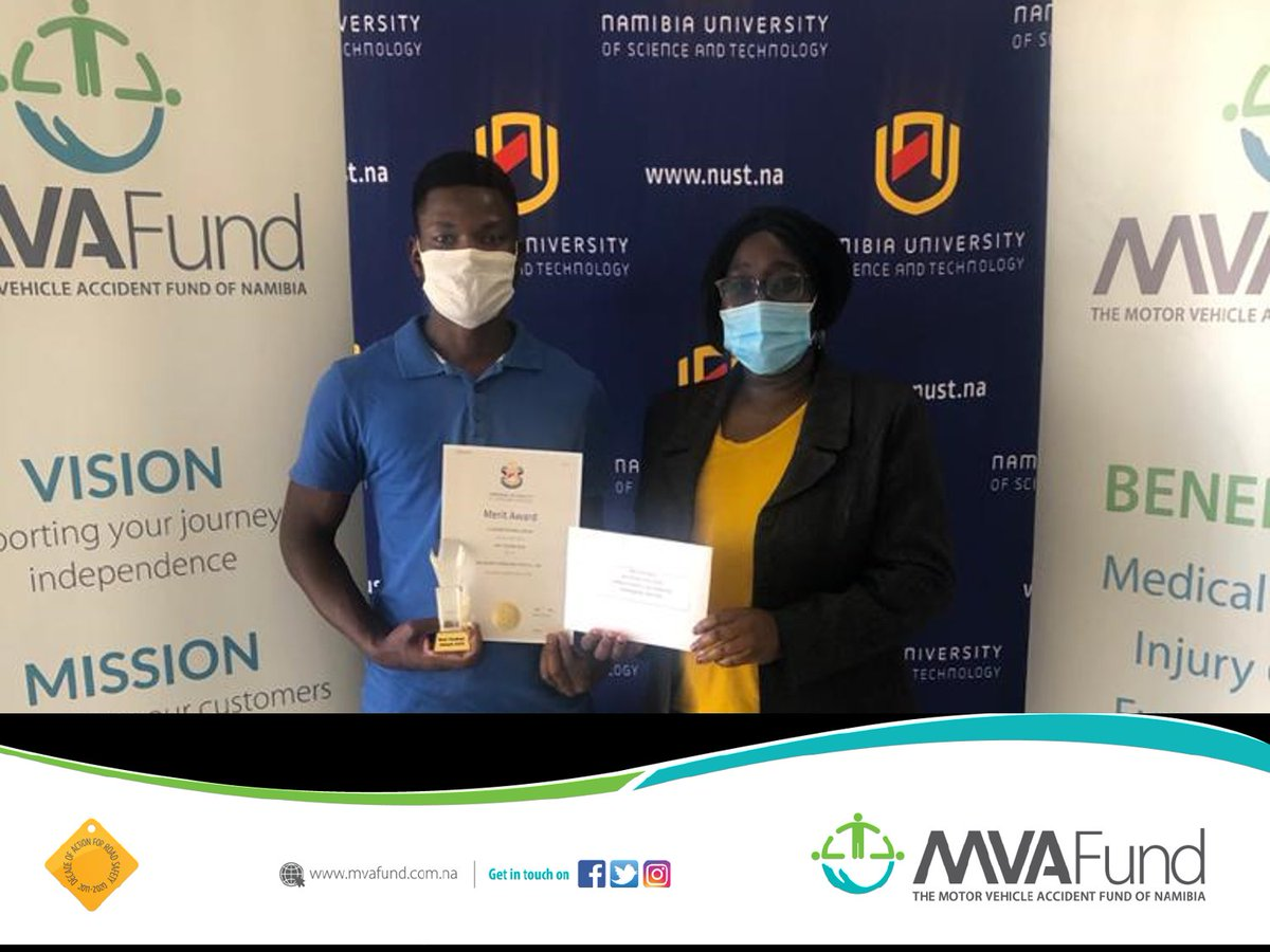 The Namibia University of Science and Technology (NUST), recognizes students for their academic performance in the category sponsored by the MVA Fund. Among the three top achievers, Iileni Ndevahonga Simson is a bursary holder of the MVA Fund. #RewardingExcellence