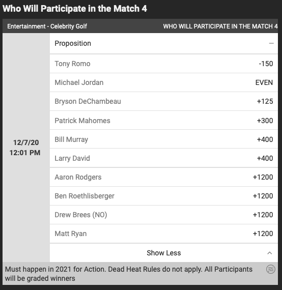 Who's gonna play in the Match 4? ⛳️  Tony Romo -150 Michael Jordan EVEN Pat Mahomes +300 Bill Murray at +400 Aaron Rodgers +1200  🏌️‍♂️#TheMatch props: