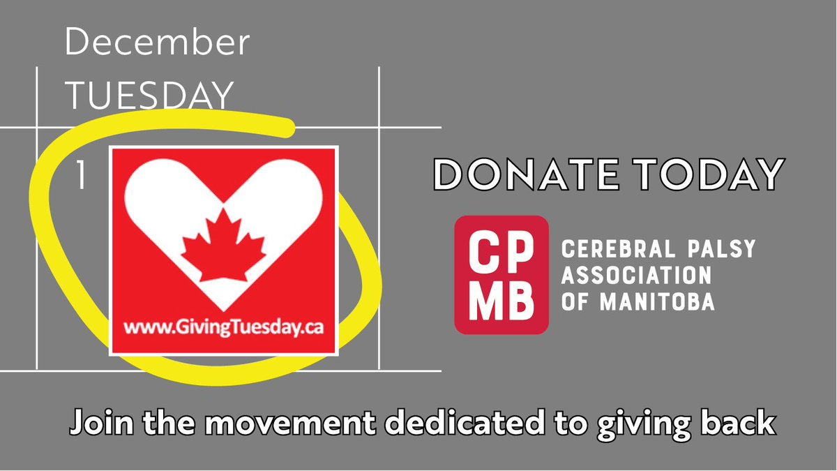 Donate today, it's #GivingTuesday! Contact David at davidk@cerebralpalsy.mb.ca or call 204.982.4842.   Thank you for your support! #CPProud @GivingTuesdayCa