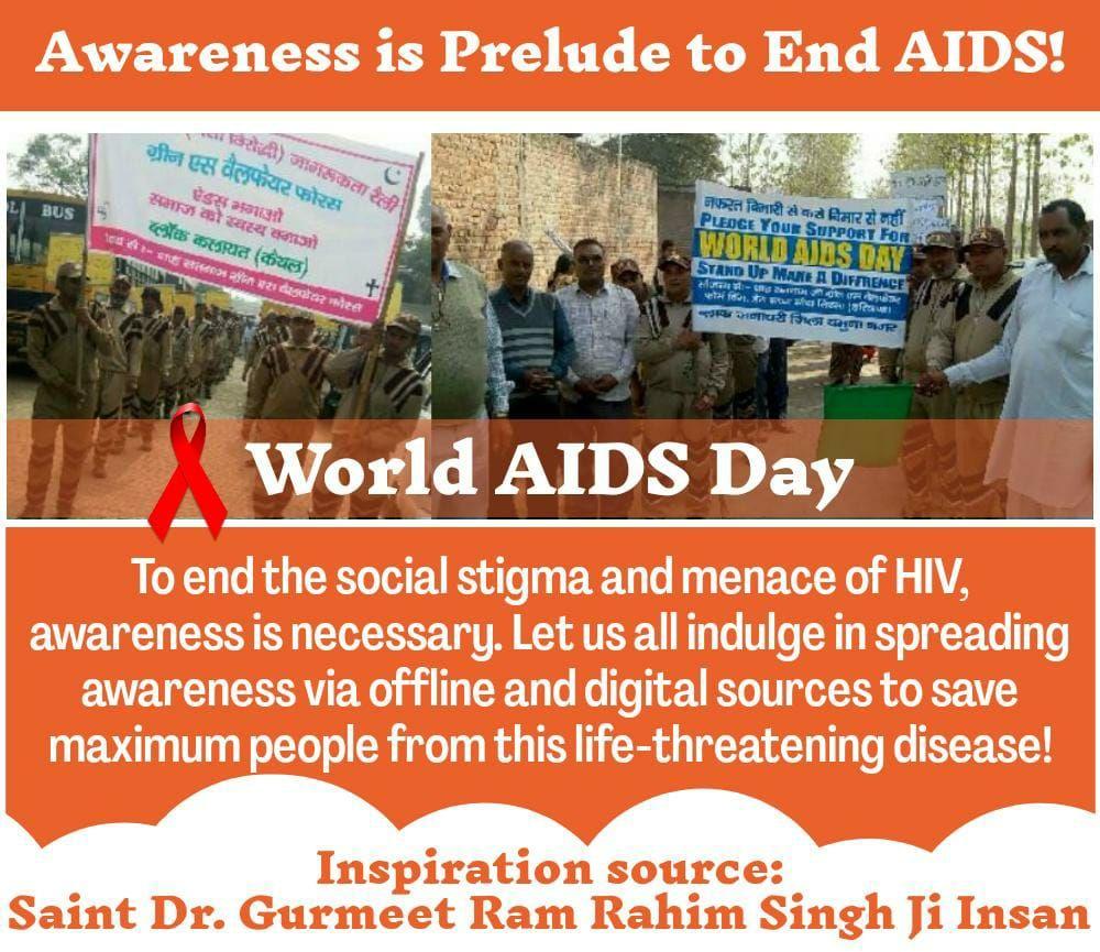 #WorldAidsDay @derasachasauda @Gurmeetramrahim g