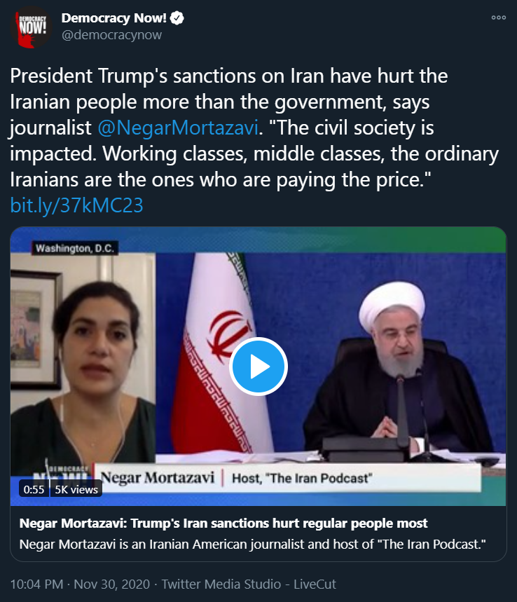 THREAD 1) .@democracynow gives airtime to known #Iran apologist/lobbyist @NegarMortazavi (who is fond of @JZarif) to push the regimes talking points. Note: -Irans FM spox: ... medicine & food, as you know, were not on any sanctions... -Iran rejected int'l aid #FakeNews