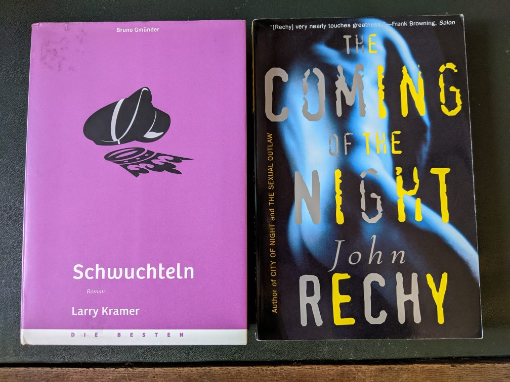 test Twitter Media - Following @afkstorm's lead, two book recommendations 1. Larry Kramer - Faggots 2. John Rechy - The Coming of Night Both portray the gay (kink) scene at the advent of AIDS in NYC & LA. So painful to read, sometimes hitting too close to time, both books made me cringe and cry https://t.co/Xv0RIJVcxO