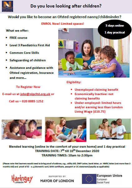 Become an OFSTED registered Childminder in 1 week  Free ONLINE Level 3 training, support into employment and more  Call 0208 885 1252 to register now!  #Training #hiring #recruitment #MondayMotivation #MondayMood #Children #NorthLondon #nanny #Jobs #jobseeker #December1st