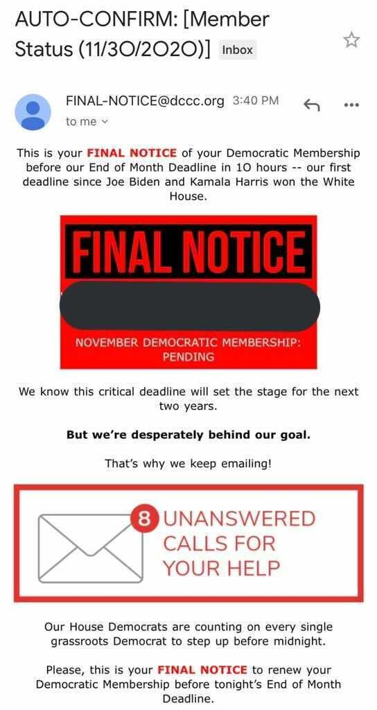 We need to talk about these membership emails from Democratic Party orgs (👋@dccc @dscc). We all get them, see them, and ignore them as another annoying fundraising ploy, right? Not exactly, there is a deeper problem. Heres why. 👇 (1/9)