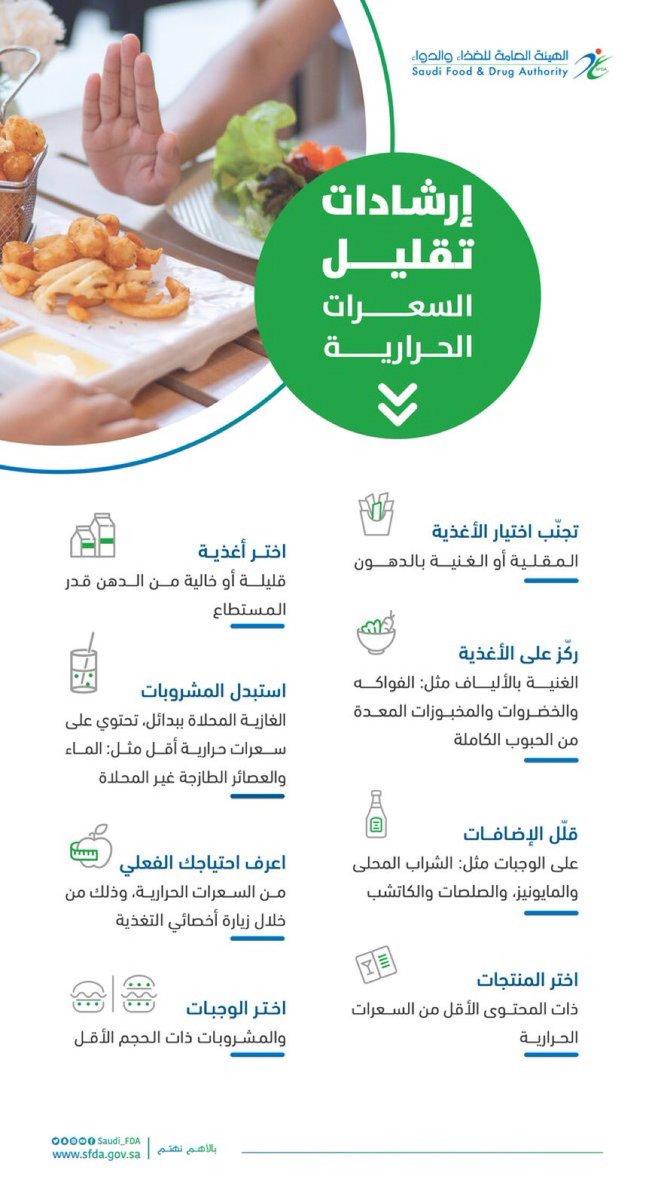 يوجد العديد من البدائل الغذائية توفر لك خيارات بسعرات حرارية أقل يمكن السيطرة على وزن الجسم بالتحكم في السعرات الحرارية التي يتم استهلاكها يتم تحديد احتياج الفرد من السعرات الحرارية بناءً على عدة معايير، تعرف عليها #الغذاء_والدواء #Weight_Loss #Calories #Instructions #Saudi_FDA