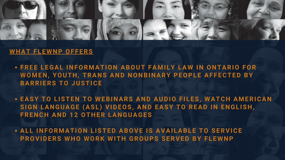 If you're in a situation that requires help, don't be left feeling alone with no answers. Family Law Education for Women and Nonbinary People (FLEWNP) is here to help. Visit  for information about Family Law in Ontario. Follow us on Facebook & Twitter