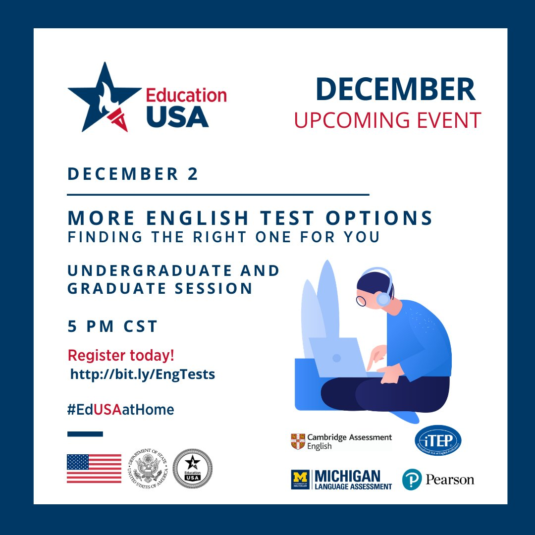 Educationusa Mexico On Twitter Learn More About English Test Options For U S Studies In This Webinar With Guests From Cambridge Itep Michigan And Pearson Tests Celebrate Our Last Webinarwednesday Of 2020 Tomorrow