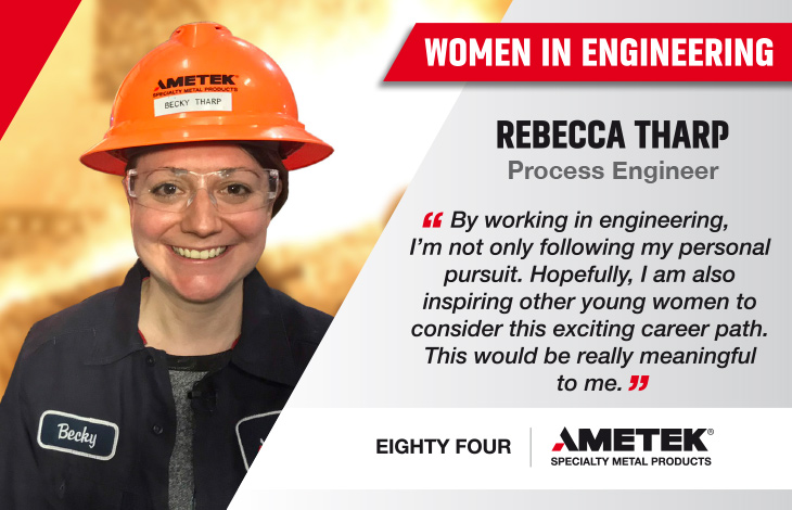 Spotlighting #womeninengineering, @AMETEKMetals spoke to Process Engineer Rebecca Tharp about her passion for working in a challenging environment, full of metal, sparks, and flames. Learn more: https://t.co/71gcZwnF58 https://t.co/c9BvdmfDeJ