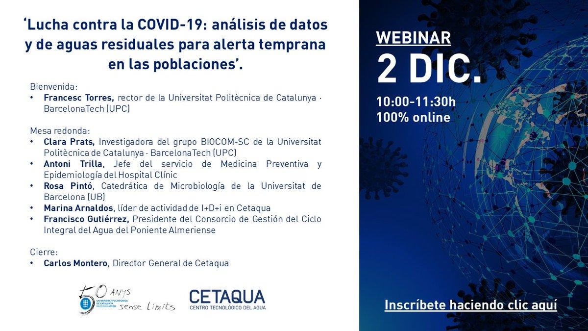 ¿Cómo el análisis de datos epidemiológicos y de aguas residuales permite detectar de forma prematura los brotes de #COVID19? Descúbrelo de la mano de expertos en el #webinar organizado por @CETAQUA y @BIOCOMSC1 de @la_UPC  🗓️ 02/12 de 10:00-11:30h ✍️