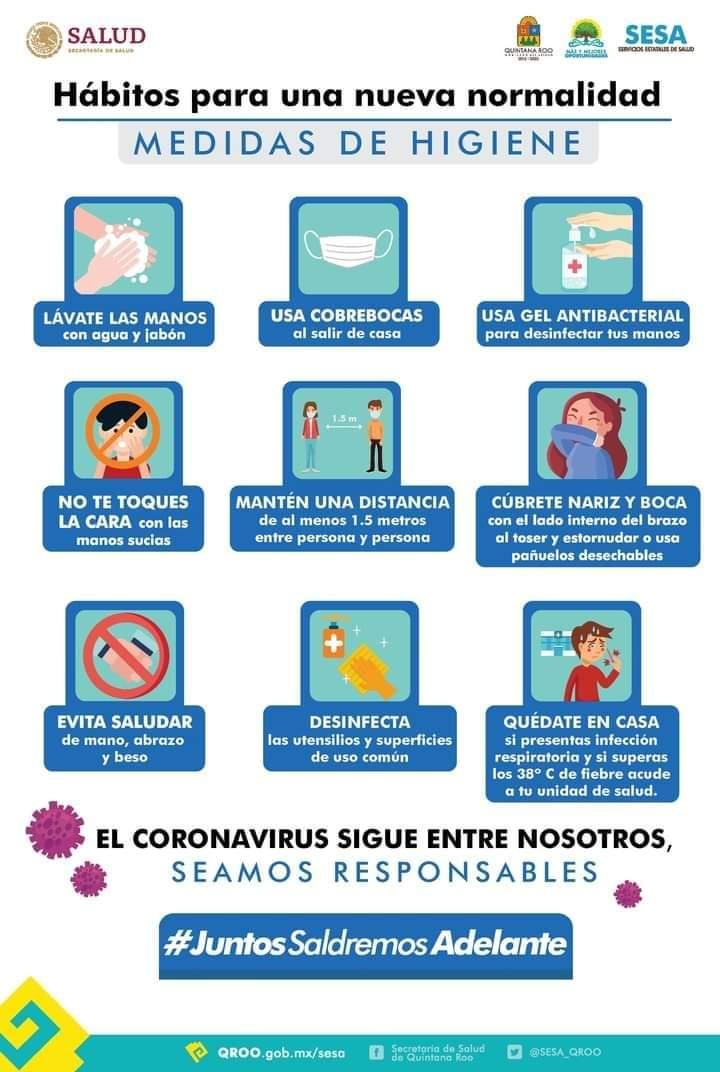 ✅Con estas recomendaciones prevenimos el contagio, 👉🏻 conoce las medidas de prevención e higiene del #coronavirus #COVID19 en #QuintanaRoo  #JuntosSaldremosAdelante  @CarlosJoaquin