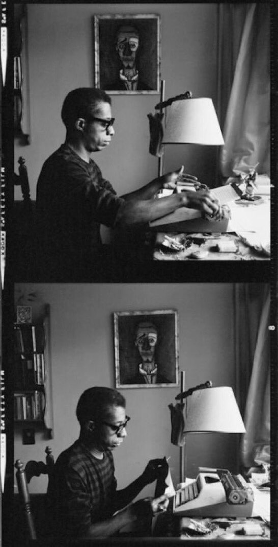 """💎 JAMES BALDWIN 💎 Died on this day, in 1987 """"People can cry much easier than they can change."""" James Baldwin by His Typewriter, Istanbul 1966 thanks to @ScBJo"""
