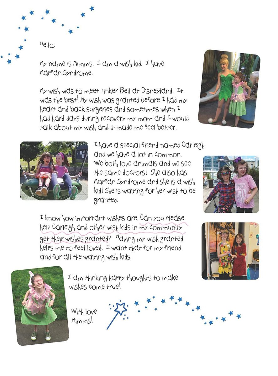 """✨ A special message to you, from Wish Kid Mimms, on this global day of giving. 💌✨Mimms wants to help grant wishes, like her friend Carleigh's: """"Having my wish granted helps me to feel loved, I want that for all the waiting kids."""" Visit  ✨ #GivingTuesday"""