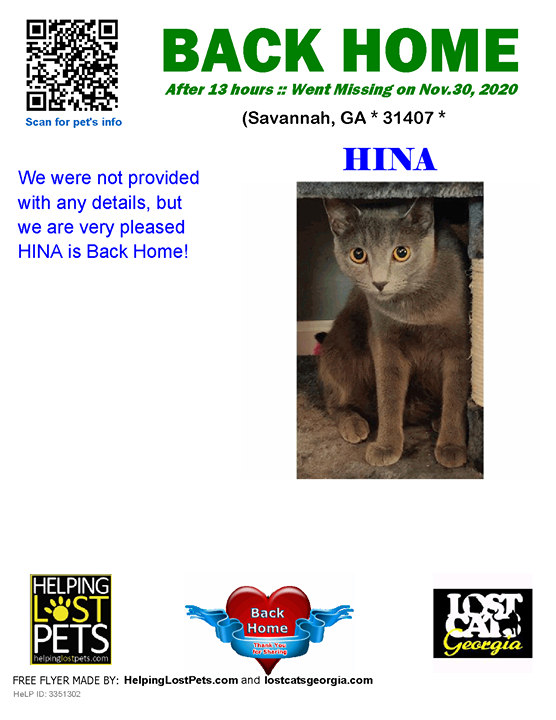 **FACEBOOK LINK:  ** #BACKHOME  We are so happy Hina is back home after 13 hours!  We were not provided with any details, but we are very pleased HINA is Back Home!  Welcome Home Hina!!!  County: Chatham