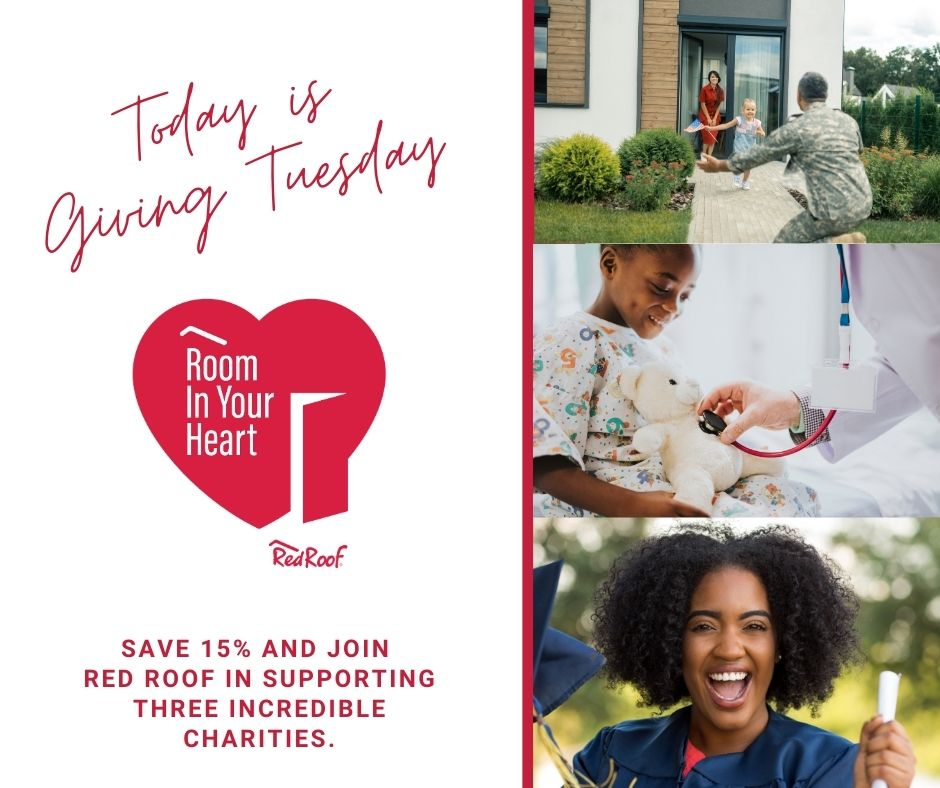 This #GivingTuesday, save 15% on your stay and join Red Roof's Room in Your Heart Purpose Program in supporting @flyinghorsefarms, @FreedomAlliance, and  @tmcf_hbcu!   Book now to show your support: