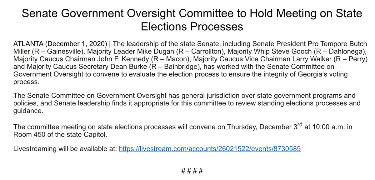 And so it begins: Georgia State Senate Republicans are spearheading two committee meetings on elections and voting this Thursday after they claimed without evidence that massive problems plagued the 11/3 general election. #gapol