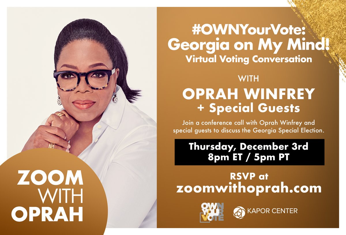 Join us for a virtual conversation with @Oprah on Thursday at 8p ET | 5p PT. RSVP for your spot today!  #OWNYourVote