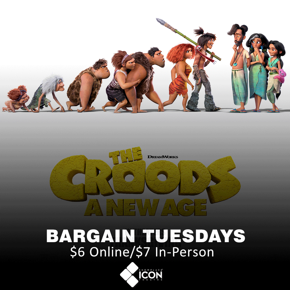 Join us on our favorite kind of Tuesday, #BargainTuesday when you see #CroodsNewAge - #NowPlaying! #SignInAndSave when you reserve your seats through the #Free #EXTRAS Program:   #MovieTuesday #MakeItICONIC