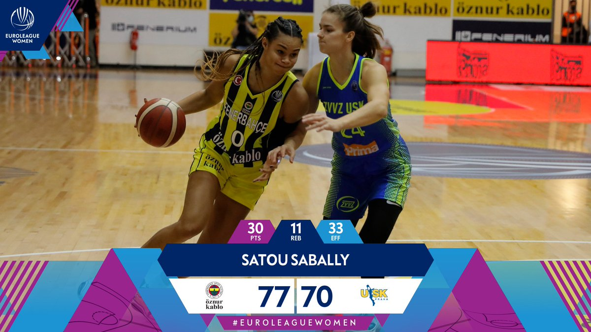 WHAT. A. DEBUT!  @satou_sabally guides @fbkadinbasket to the win in the opening game of the #EuroLeagueWomen season!