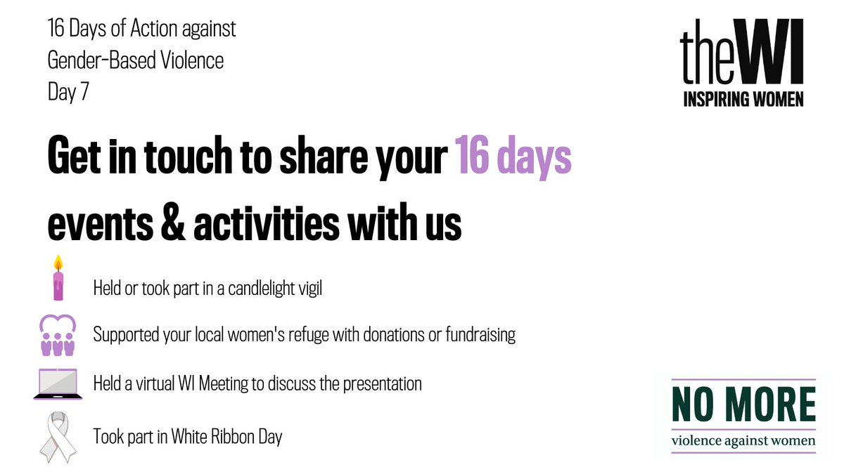 Have you organised or taken part in an activity as part of the #16DaysofAction against Gender-Based violence? Don't forget to send in your photos and details of your event/s to pa@nfwi.org for a chance to be published in @WILifemagazine. #16Days