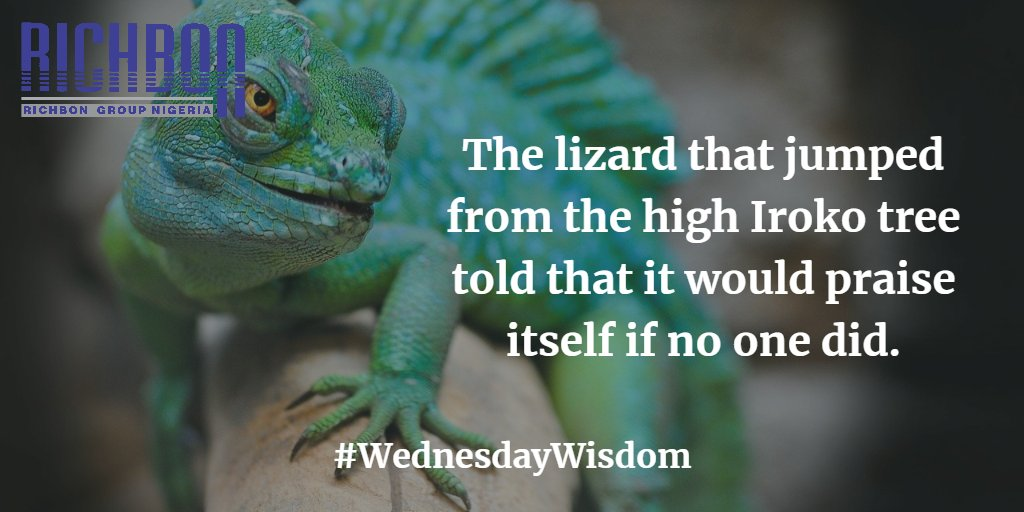 The lizard that jumped from the high Iroko tree to the ground told it would praise itself if no one else did.   It means that a person must always stay happy about his or her achievements even if nobody cares.  #wednesdaywisdom #wednesdaythought