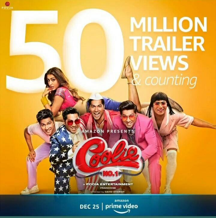 #CoolieNo1Trailer hits 50M+  views      across in all platforms🔥 #VarunDhawan #SaraAliKhan   #CoolieNo1OnPrime #CoolieNo1   @Varun_dvn @Saratimes95