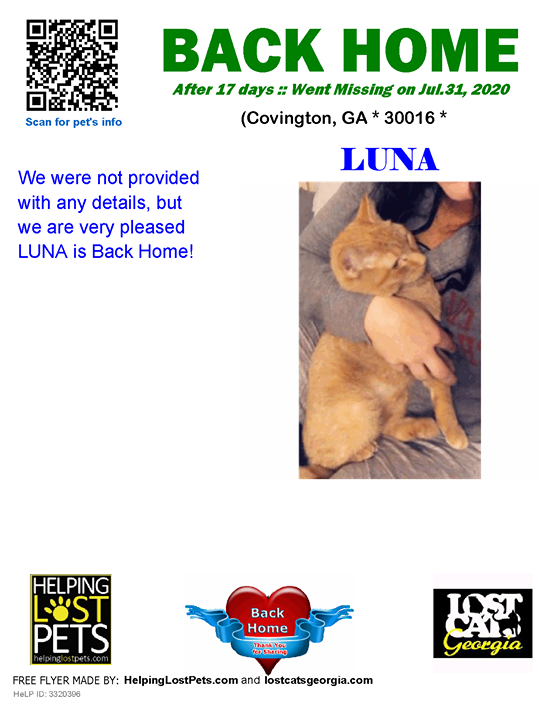 **FACEBOOK LINK:  ** #BACKHOME  We are thrilled Luna is back home after 17 days!!  We were not provided with any details, but we are very pleased LUNA is Back Home!  Welcome Home Luna!!!  County: Newton