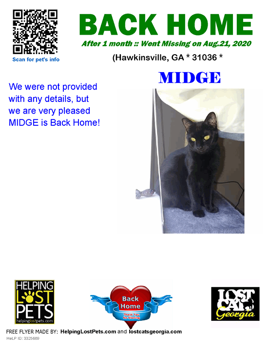 **FACEBOOK LINK:  ** #BACKHOME  We are thrilled Midge is back home after 1 month!!!  We were not provided with any details, but we are very pleased MIDGE is Back Home!  Welcome Home Midge!!!!  County: Pulaski