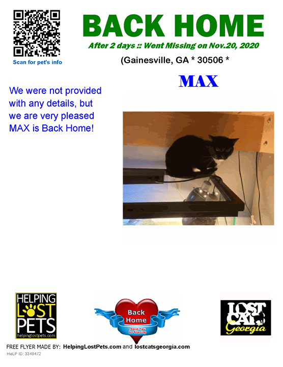 **FACEBOOK LINK:  ** #BACKHOME  We are so Happy Max is back home after 2 days!!!  We were not provided with any details, but we are very pleased MAX is Back Home!  Welcome Home Max!!!  County: Hall