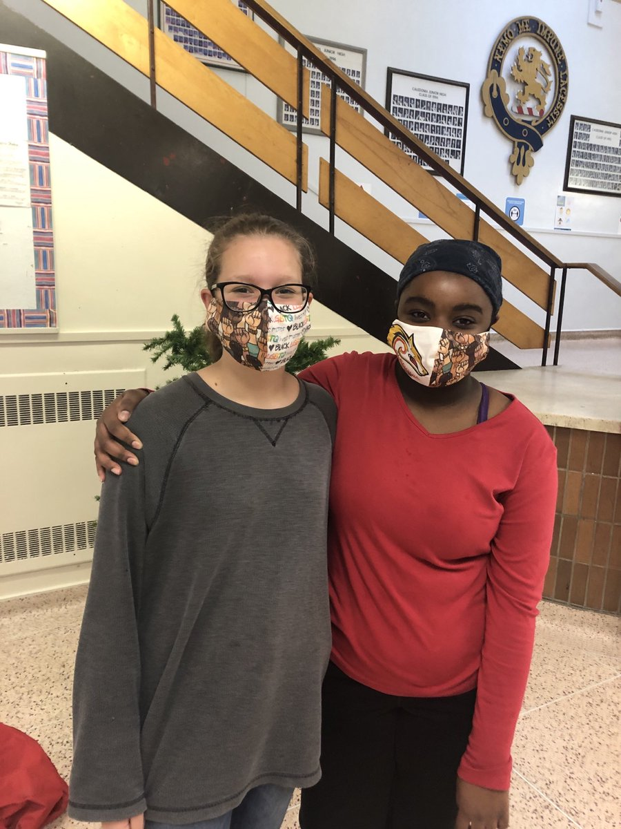 Thank you to Ms Comeau and Elsie Comeau for making masks for many of our students. @CJHS_HRSB
