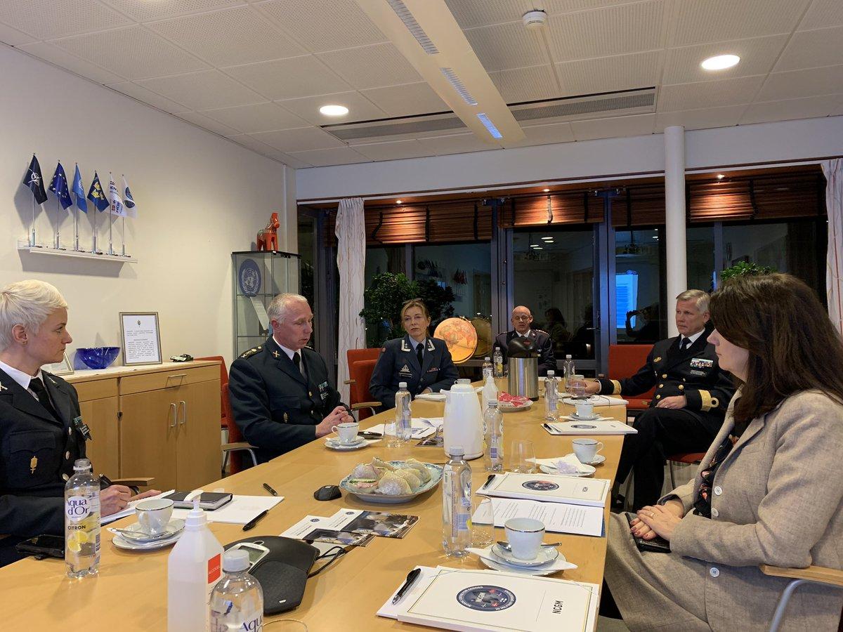 Idag besökte jag Nordic Centre for Gender in Military Operations. Tack för ert viktiga arbete med implementering av genderperspektiv i militära operationer. Agendan för kvinnor, fred & säkerhet är en prioritet för 🇸🇪 i OSSE. @OSCE #NCGM #OSCE2021SWE #FeministiskUtrikespolitik
