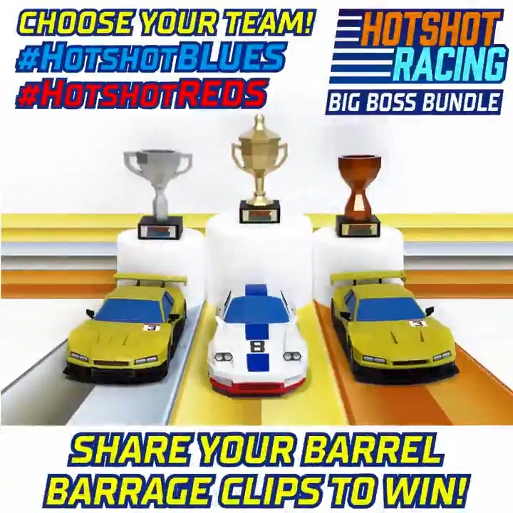 Brand new free content for awesome arcade racer #HotshotRacing is available now on #XboxOne!  Want to get your hands on these amazing 3D car models?  Share your greatest clips from new game mode 'Barrell Barrage' using #HotshotReds or #HotshotBlues for a chance to win 🏎️💥