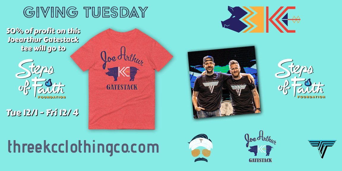 This #GivingTuesday the kind folks at Three KC are donating 50% of the proceeds of this special edition @TedLasso AFC Richmond color themed JoeArthur GateStack shirt to Steps of Faith! #GiveSteps and look good doing it!    #TedLasso #JasonSudeikis #KC #BBQ