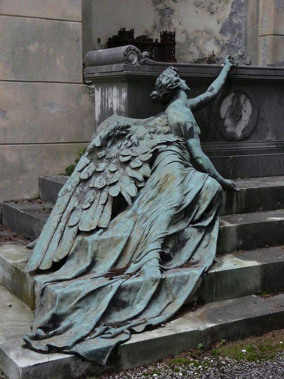 Burial monument in Staglieno Cemetery, Genoa.
