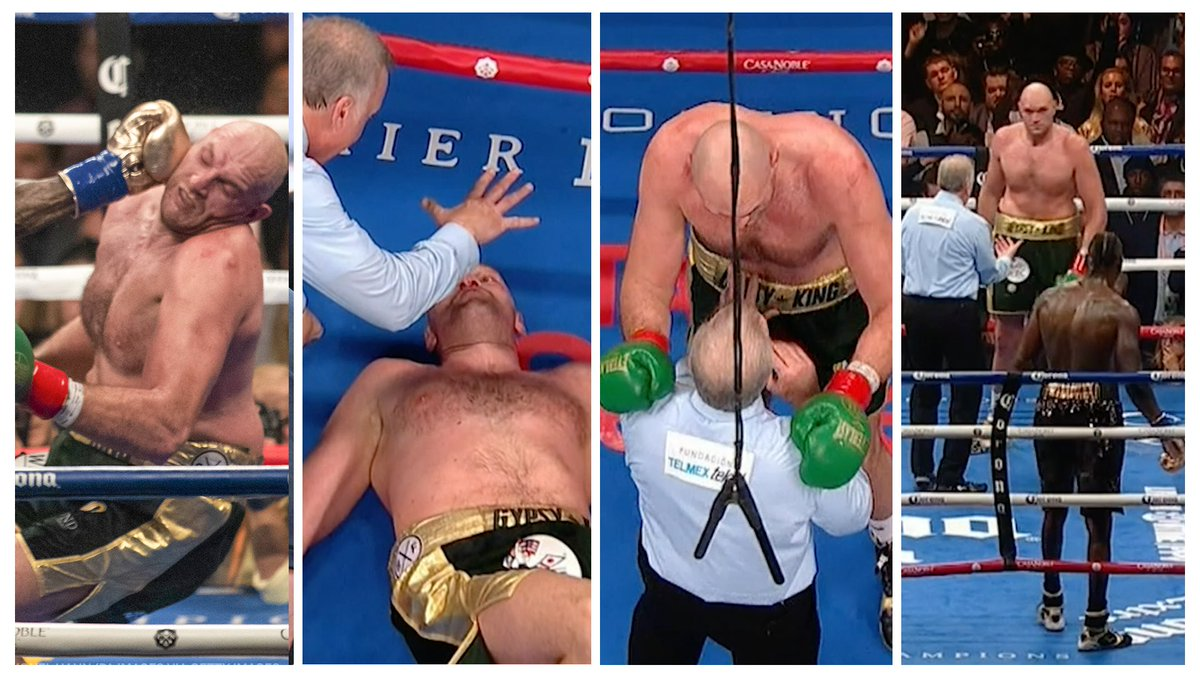 Two years ago today, @Tyson_Fury rose from the mat like The @Undertaker after being knocked down by Deontay Wilder in the 12th round⚱️
